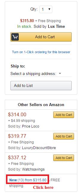 Click theo mũi tên đỏ để xem các seller bán sản phẩm này
