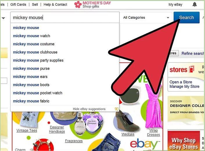 Tìm một món hàng để mua trên thanh tìm kiếm Ebay